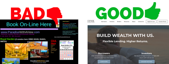 Good and bad website design examples