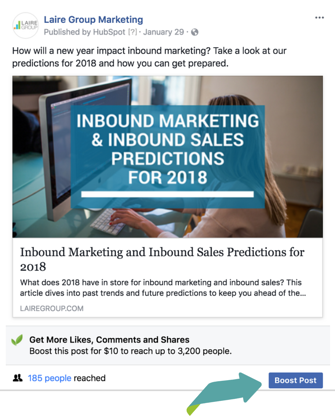 How to Boost a Facebook Post | Laire Group Marketing Charlotte