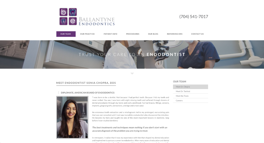 Ballantyne Endodontics Dr. Sonia Chopra | Laire Group Marketing - dental marketing agnecy Charlotte