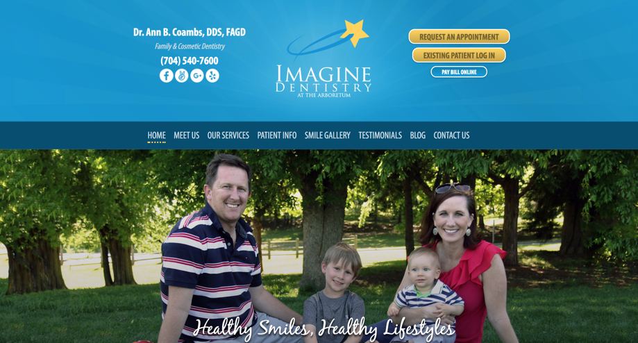 Imagine Dentistry header | Laire Group Marketing - dental marketing agency in Charlotte