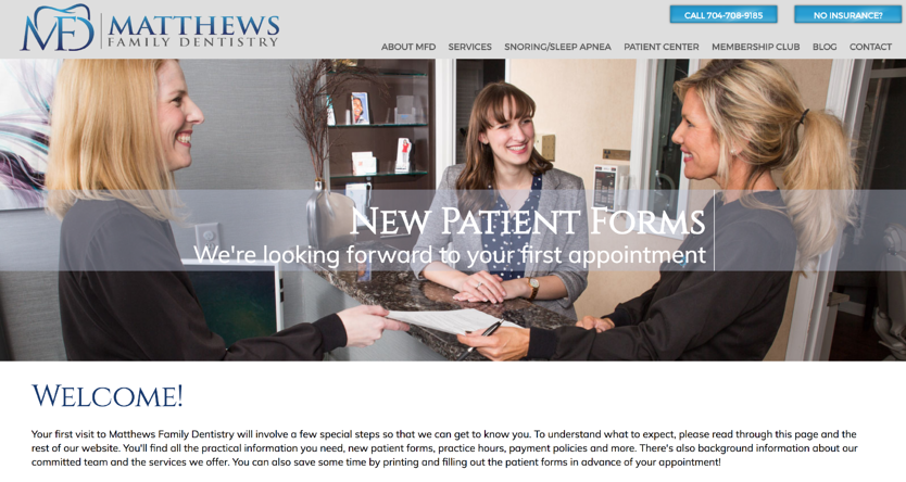 Matthews Family Dentistry new dental patient forms | Laire Group Marketing - dental marketing agency in Charlotte