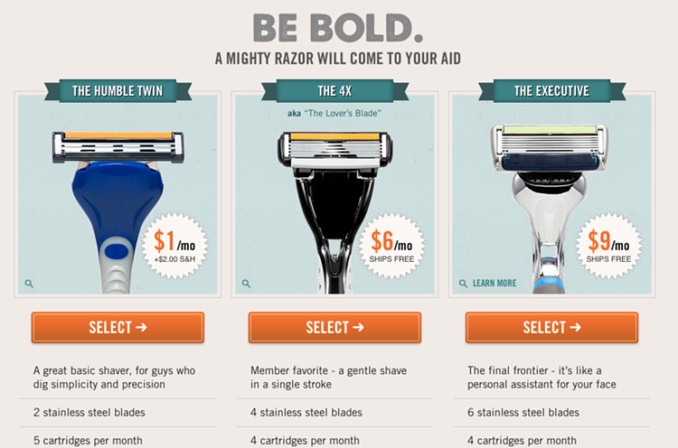 Dollar Shave Club Comparison | Upselling Example