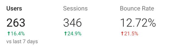 Google Analytics screenshot - Bounce rate