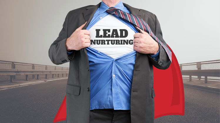Lead Nurturing | Businessman super hero with lead nurturing on shirt