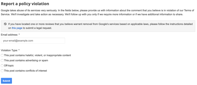 Google Plus policy violation