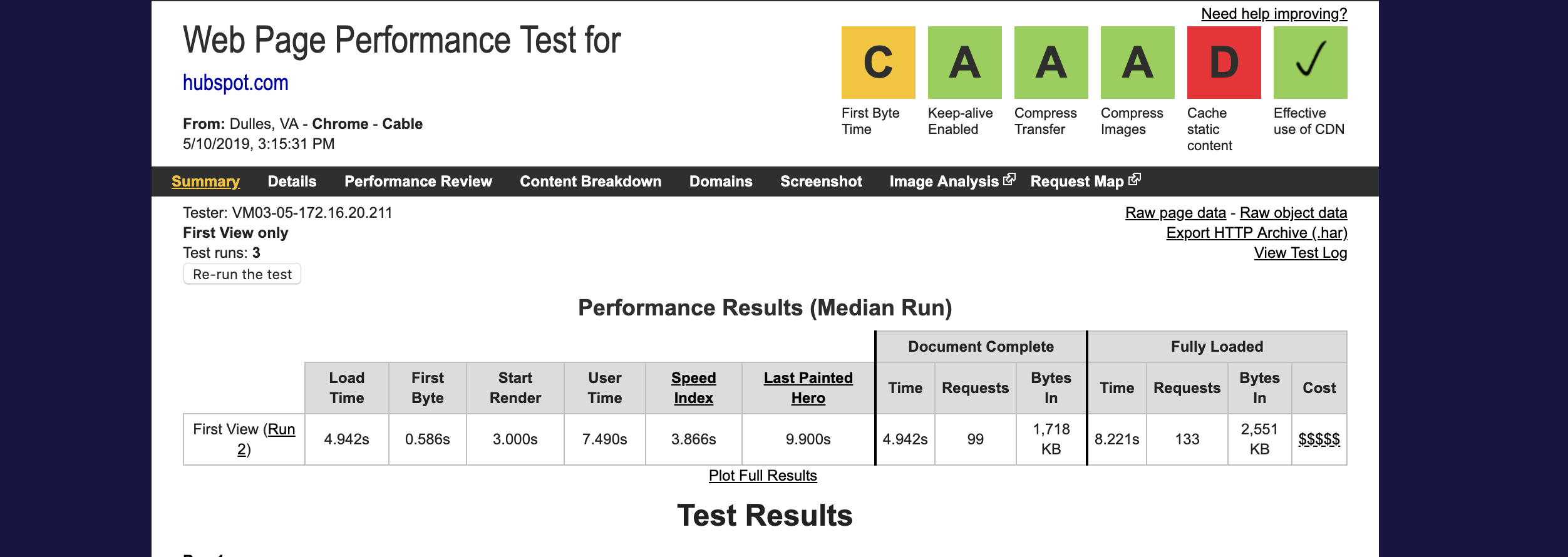 website load speed test - WebPageTest.org