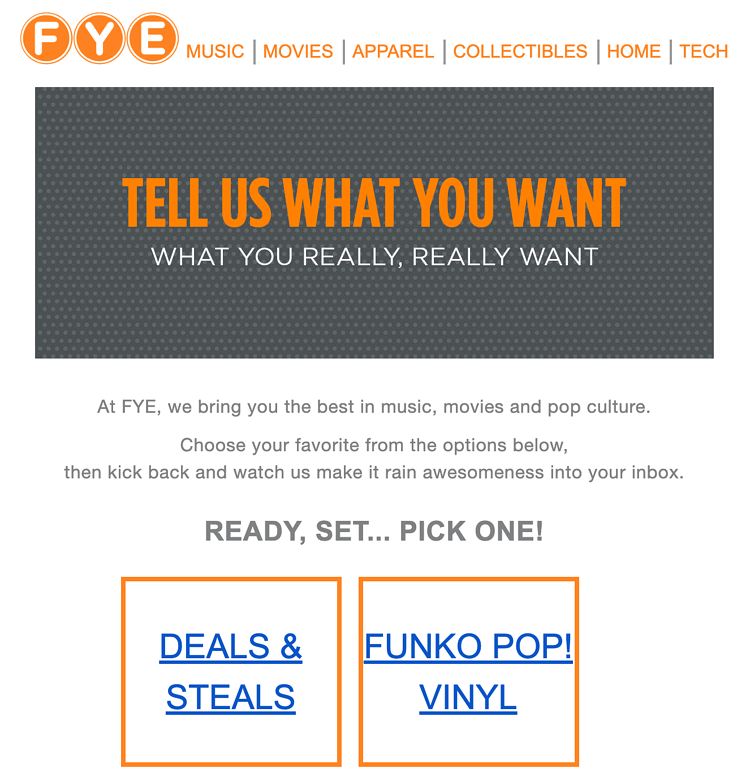 Inbound marketing example - email marketing from FYE