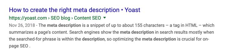 SEO for beginners | Meta description screenshot | Yoast