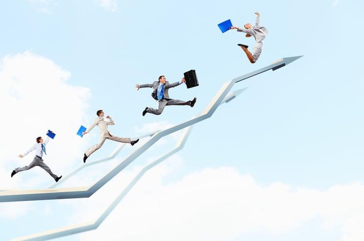 sales and marketing | business people on upward arrow