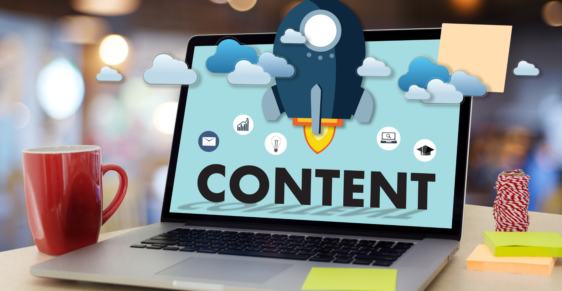 Content Marketing Strategy Tools | Laptop on Desk with Content Screen-1